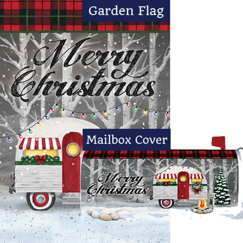 Merry Christmas Camper Double Sided Flag Mailwrap Set (2 Pieces)