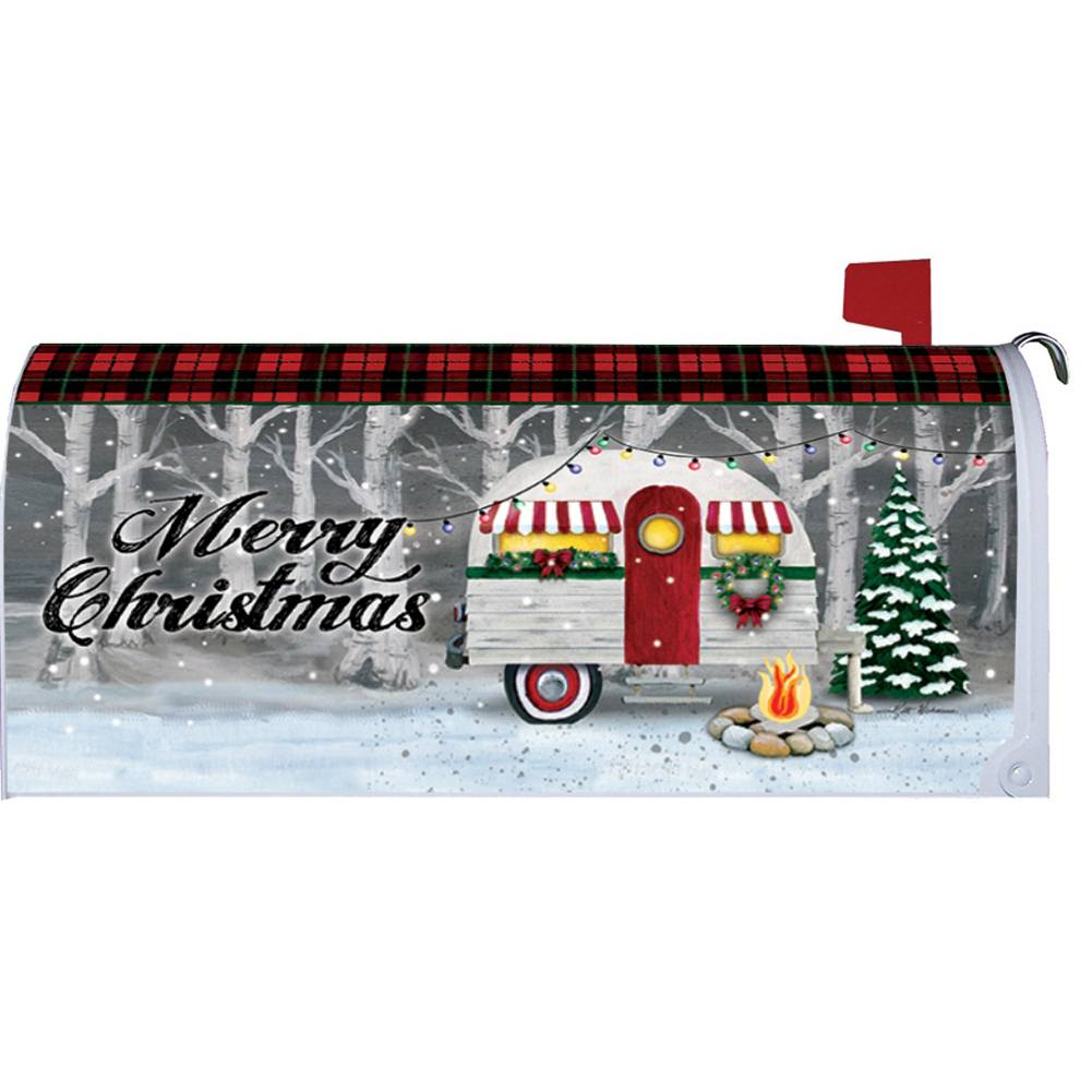 Merry Christmas Camper Mailbox Cover