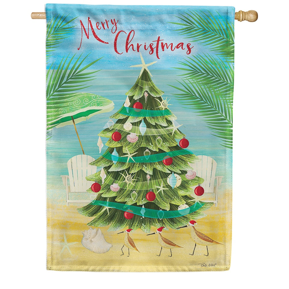 Merry Coastal Christmas Double Sided House Flag