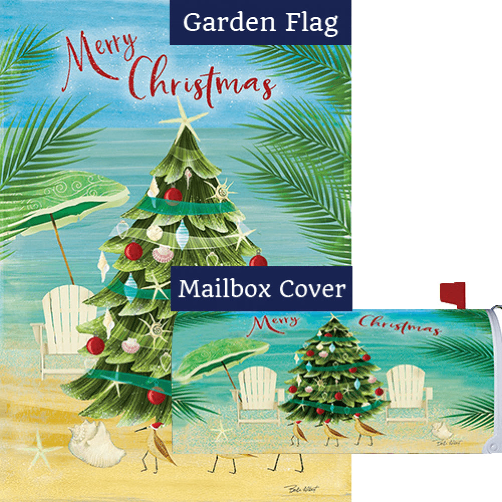 Merry Coastal Christmas Double Sided Flag Mailwrap Set (2 Pieces)