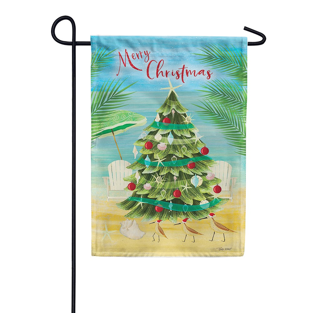 Merry Coastal Christmas Double Sided Garden Flag