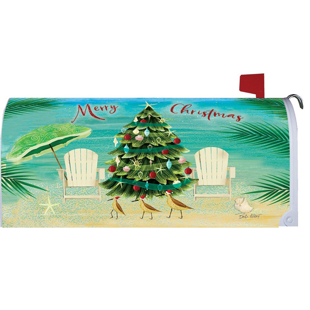 Merry Coastal Christmas Mailbox Cover