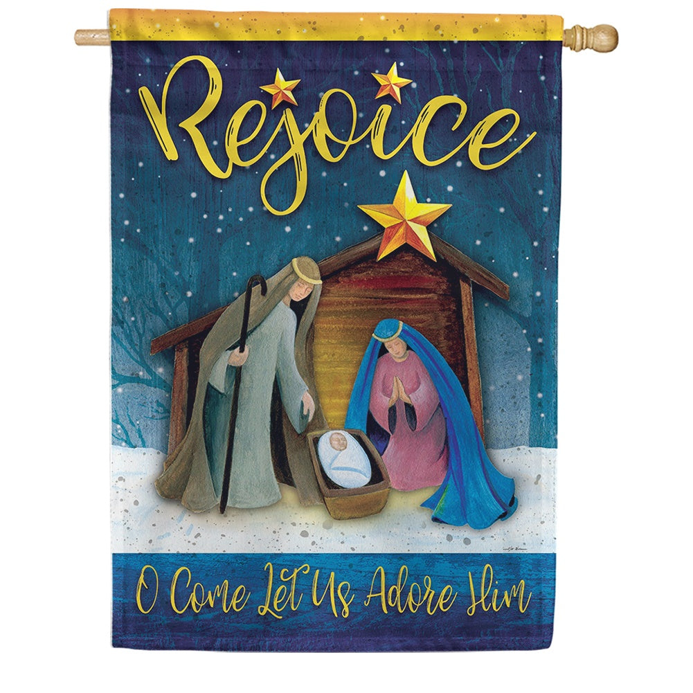 Rejoice Manger Double Sided House Flag