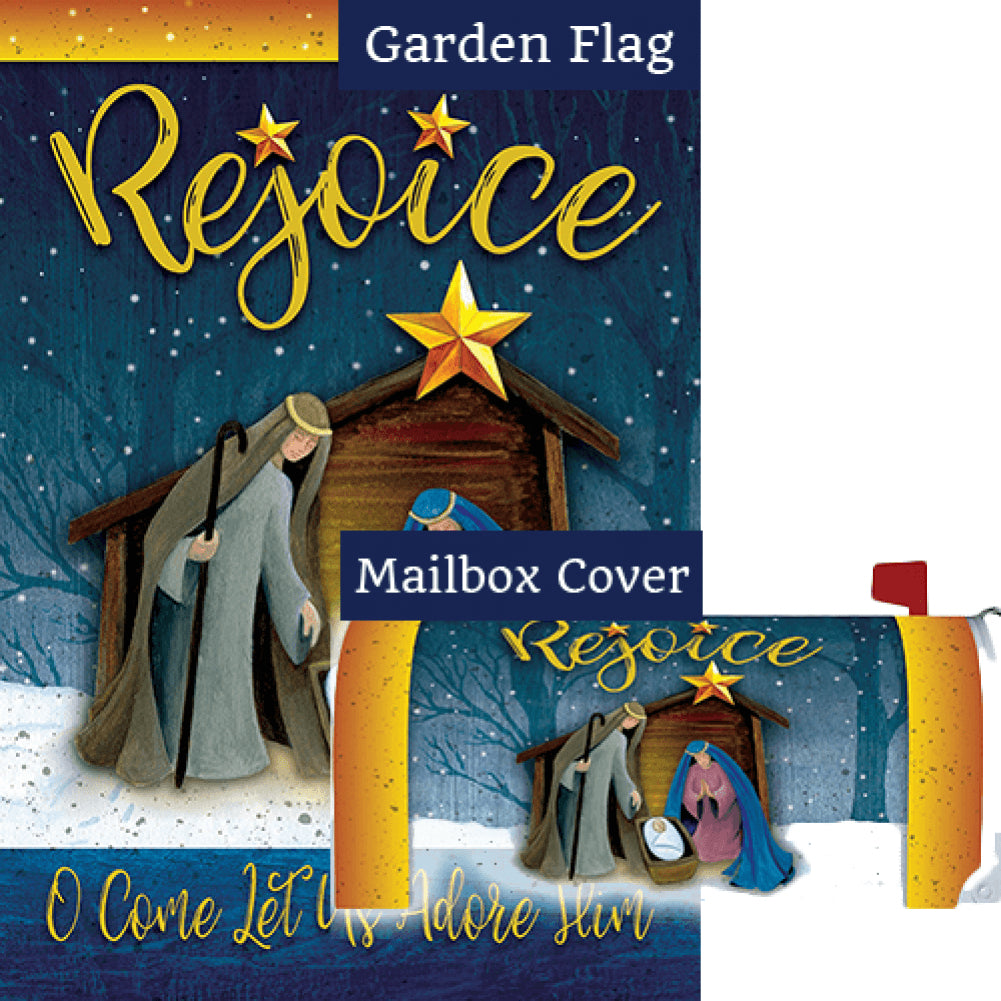 Rejoice Manger Double Sided Flag Mailwrap Set (2 Pieces)