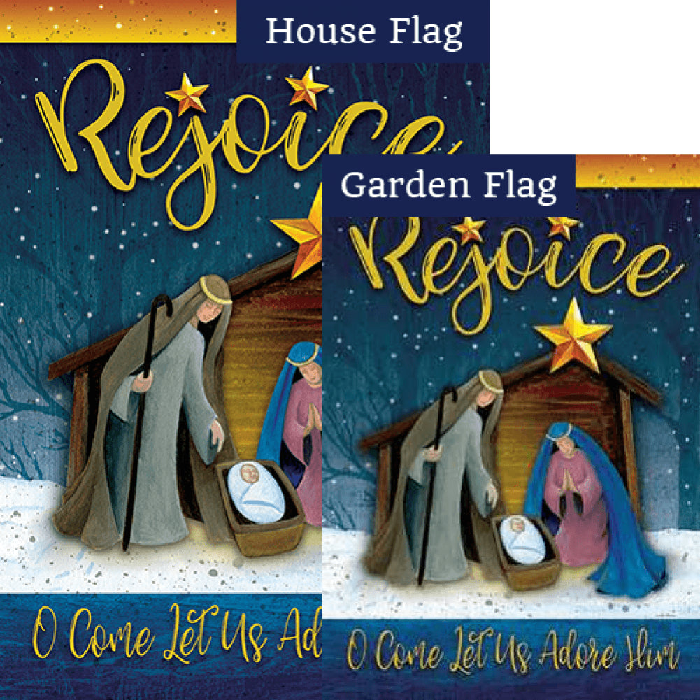 Rejoice Manger Double Sided Flags Set (2 Pieces)