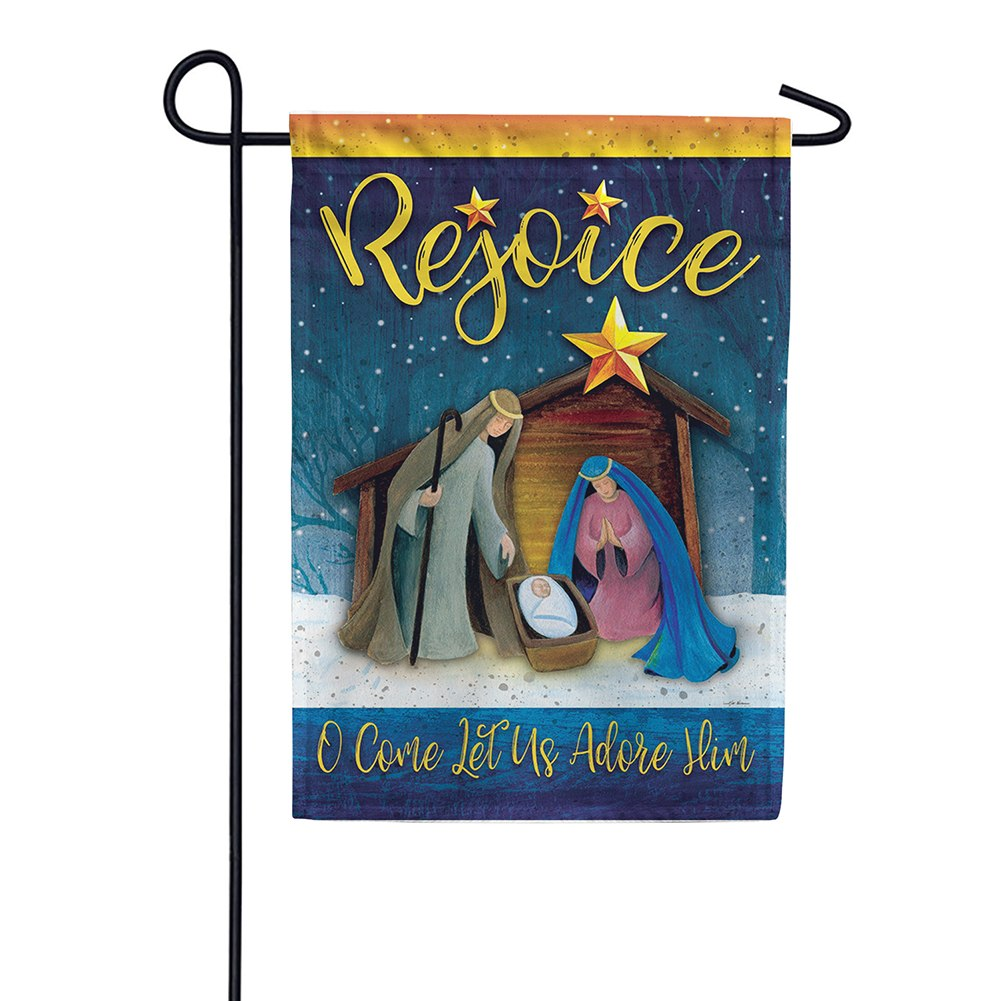 Rejoice Manger Double Sided Garden Flag