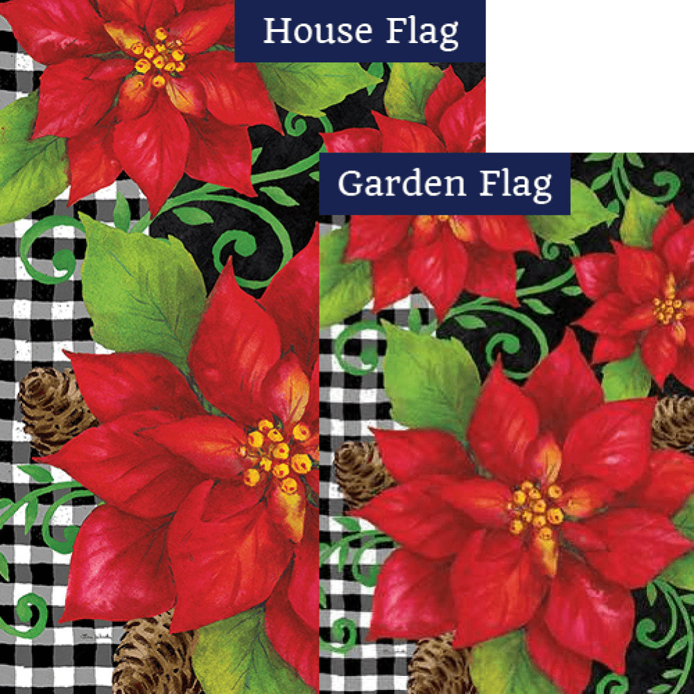 Poinsettia Check Flags Set (2 Pieces)