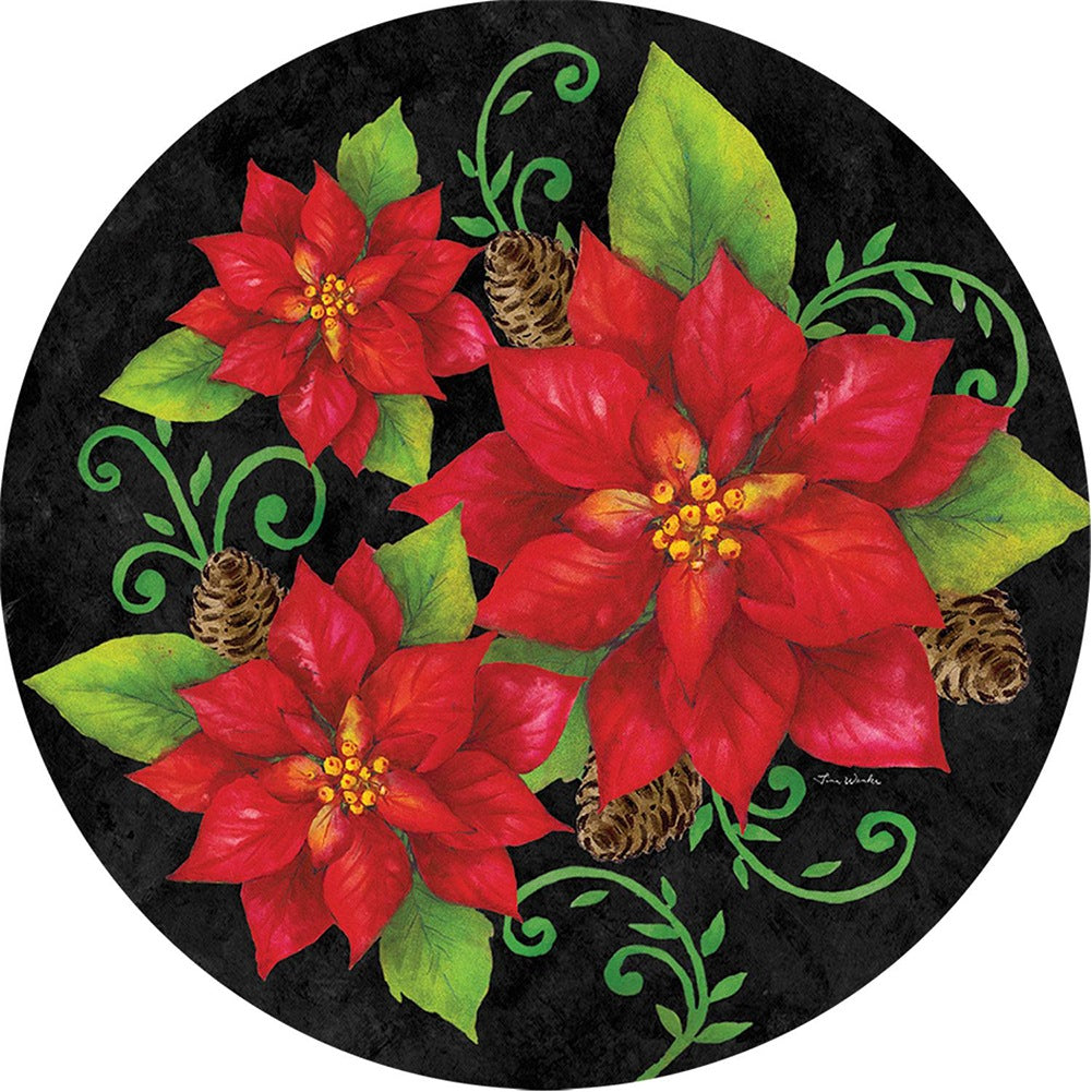 Poinsettia Check Accent Magnet