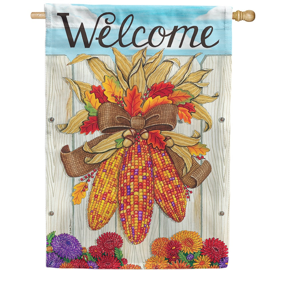 Indian Corn Thanksgiving Double Sided House Flag