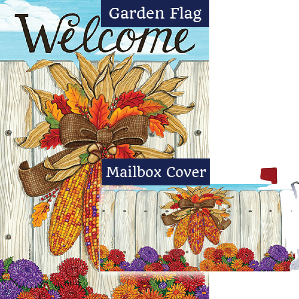 Indian Corn Thanksgiving Double Sided Flag Mailwrap Set (2 Pieces)