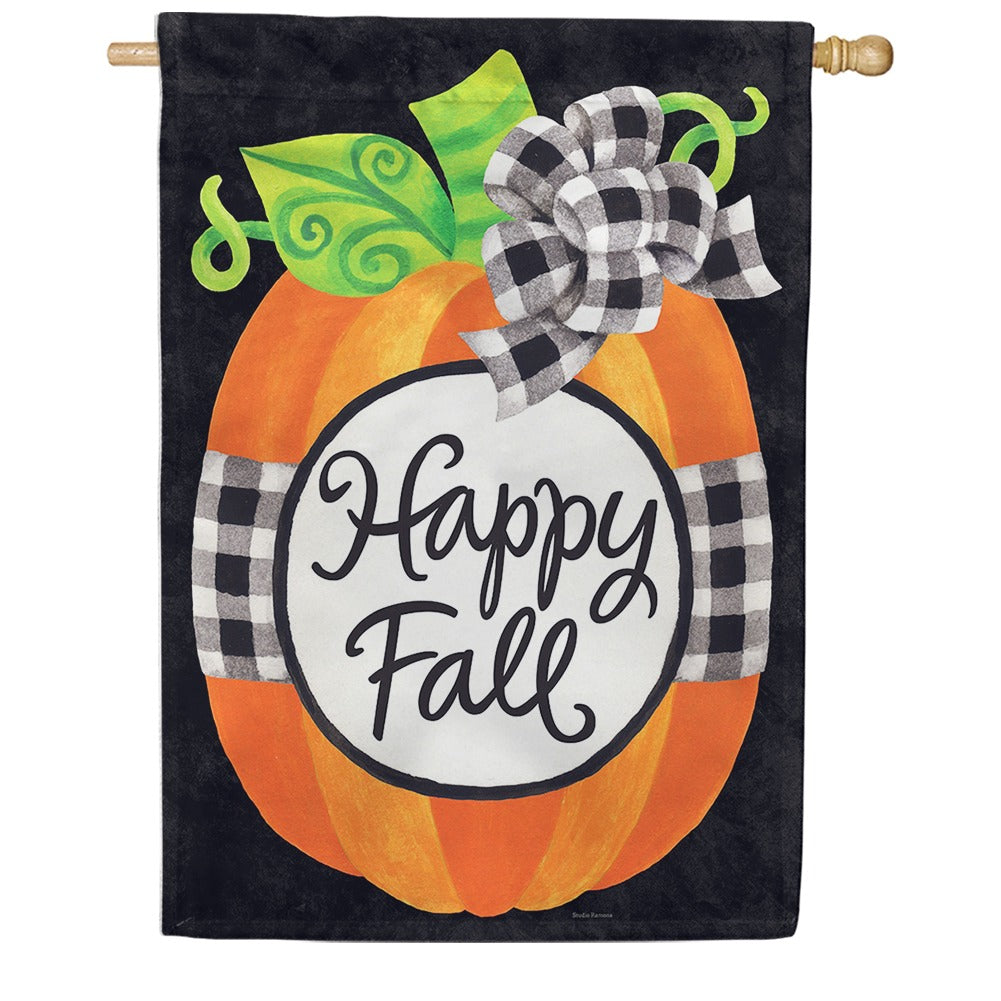 Gingham Pumpkin Double Sided House Flag