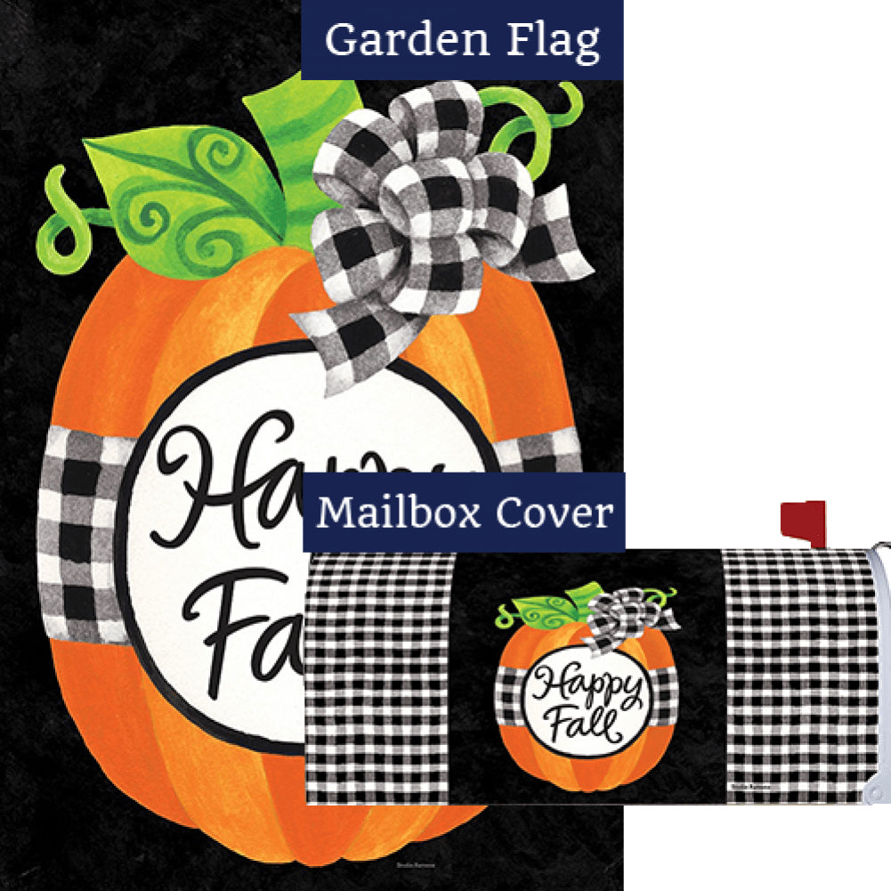 Gingham Pumpkin Double Sided Flag Mailwrap Set (2 Pieces)