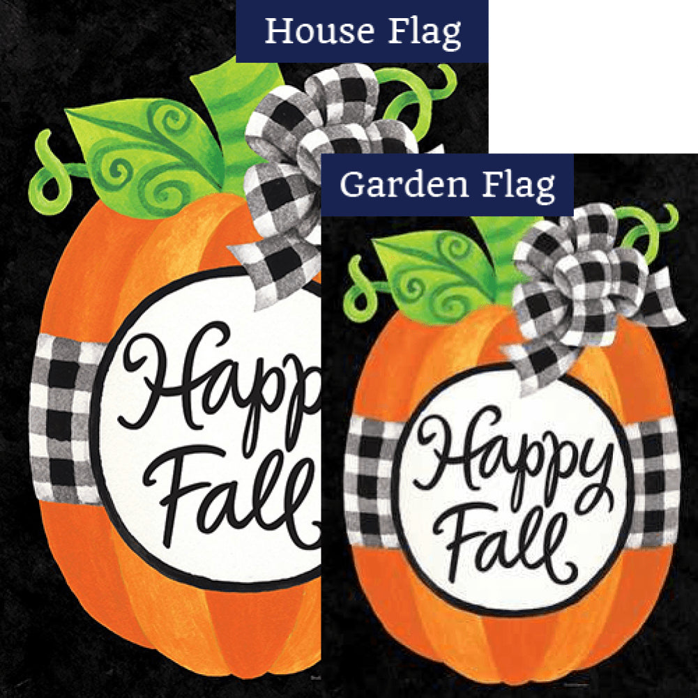 Gingham Pumpkin Double Sided Flags Set (2 Pieces)