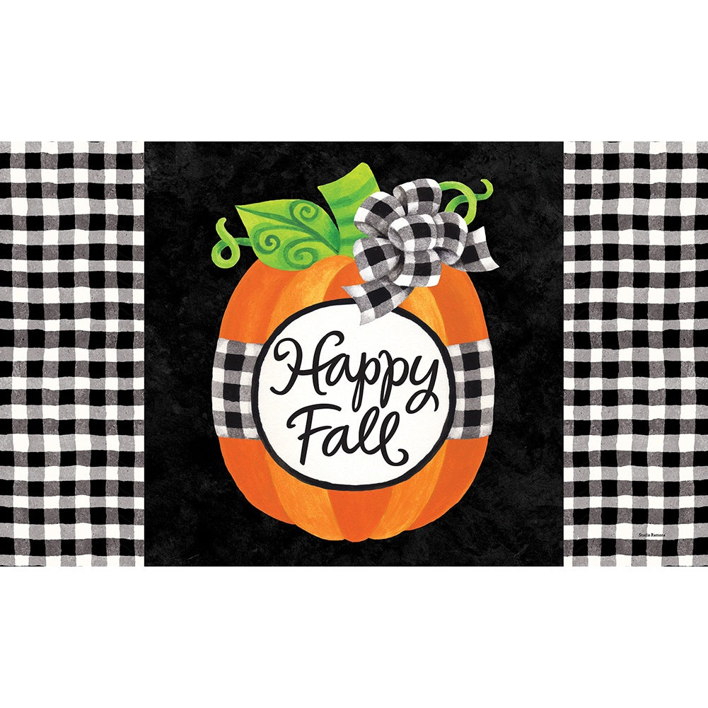 Gingham Pumpkin Doormat
