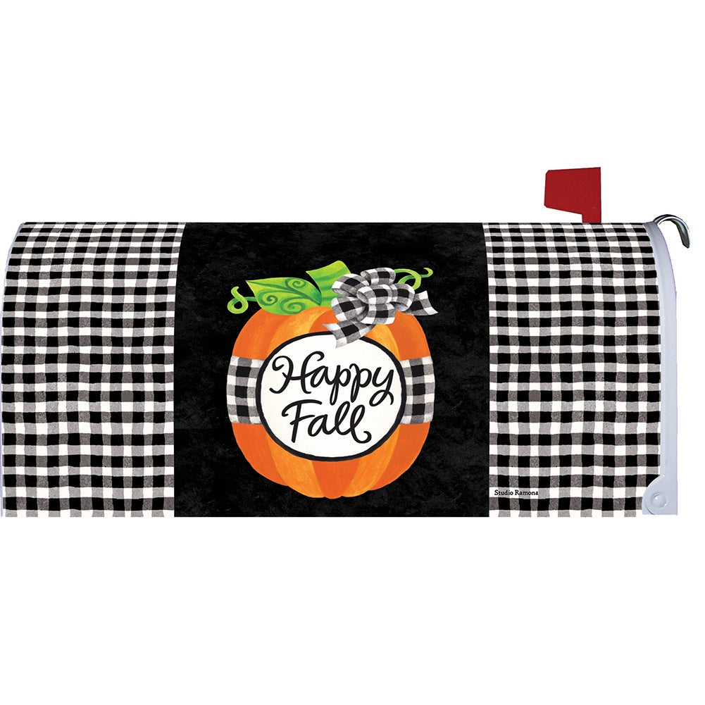 Gingham Pumpkin Mailbox Cover