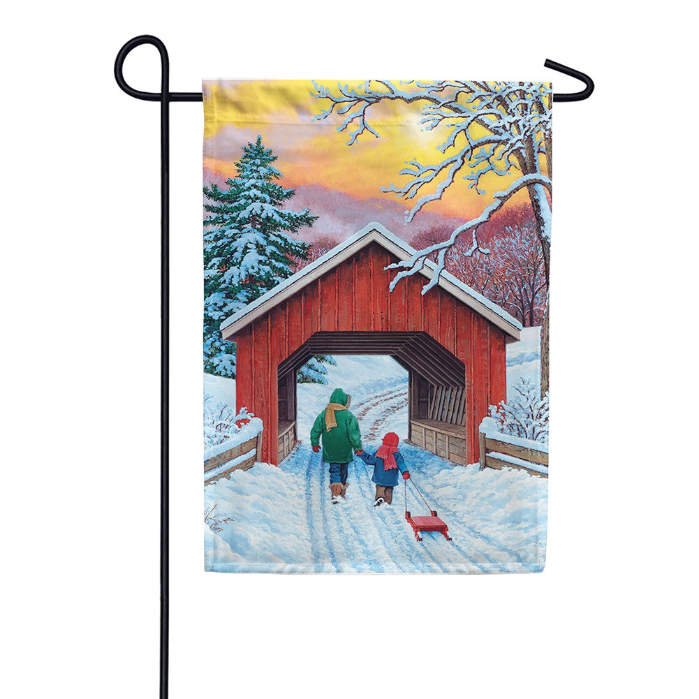 Covered Bridge Garden Flag