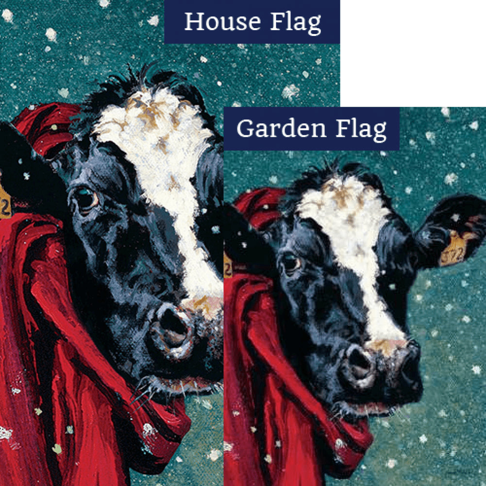 Winter Cow Flags Set (2 Pieces)