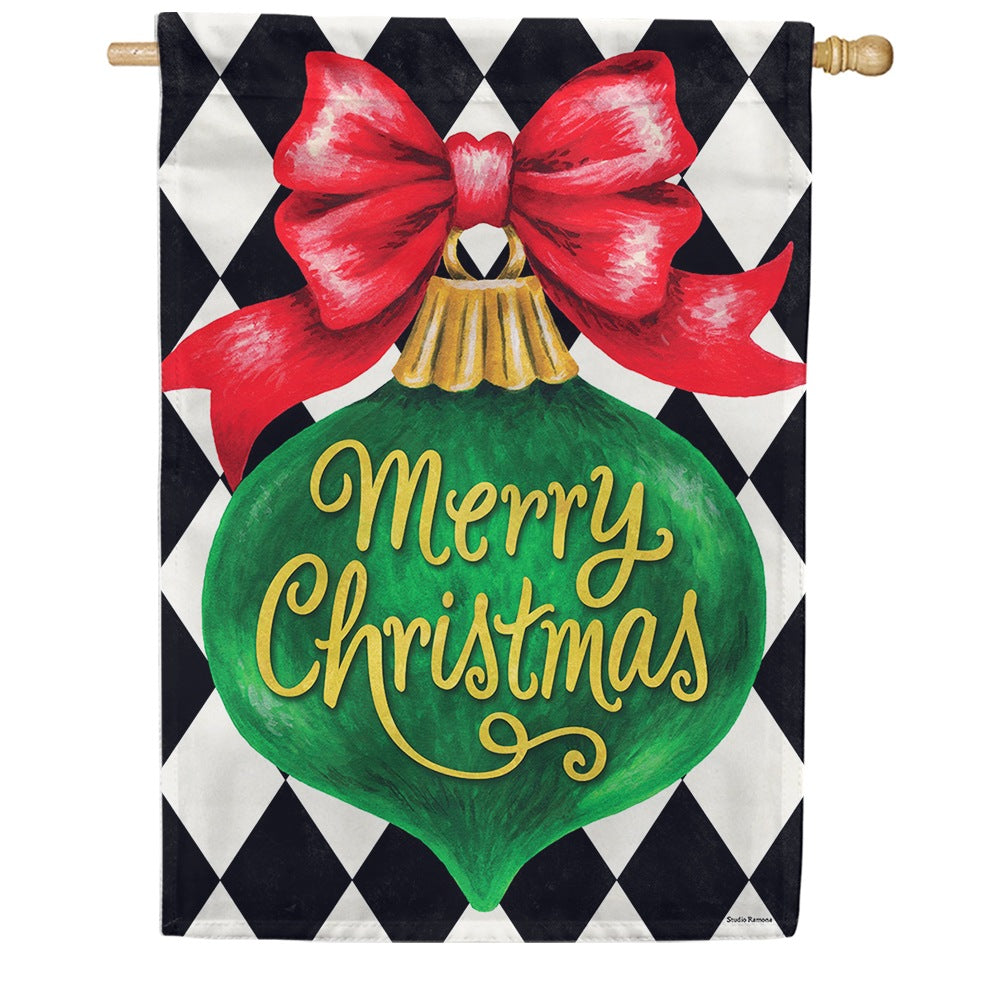 Merry Christmas Ornament Double Sided House Flag
