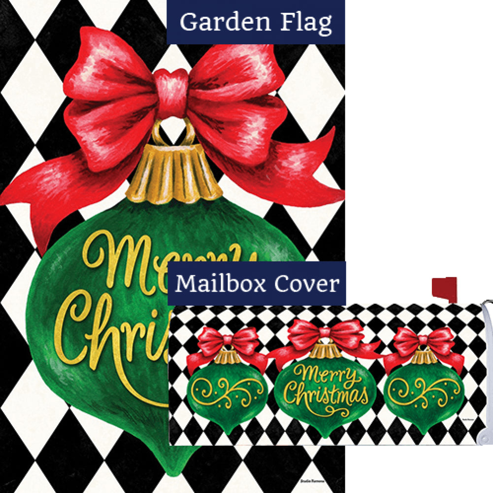 Merry Christmas Ornament Double Sided Flag Mailwrap Set (2 Pieces)
