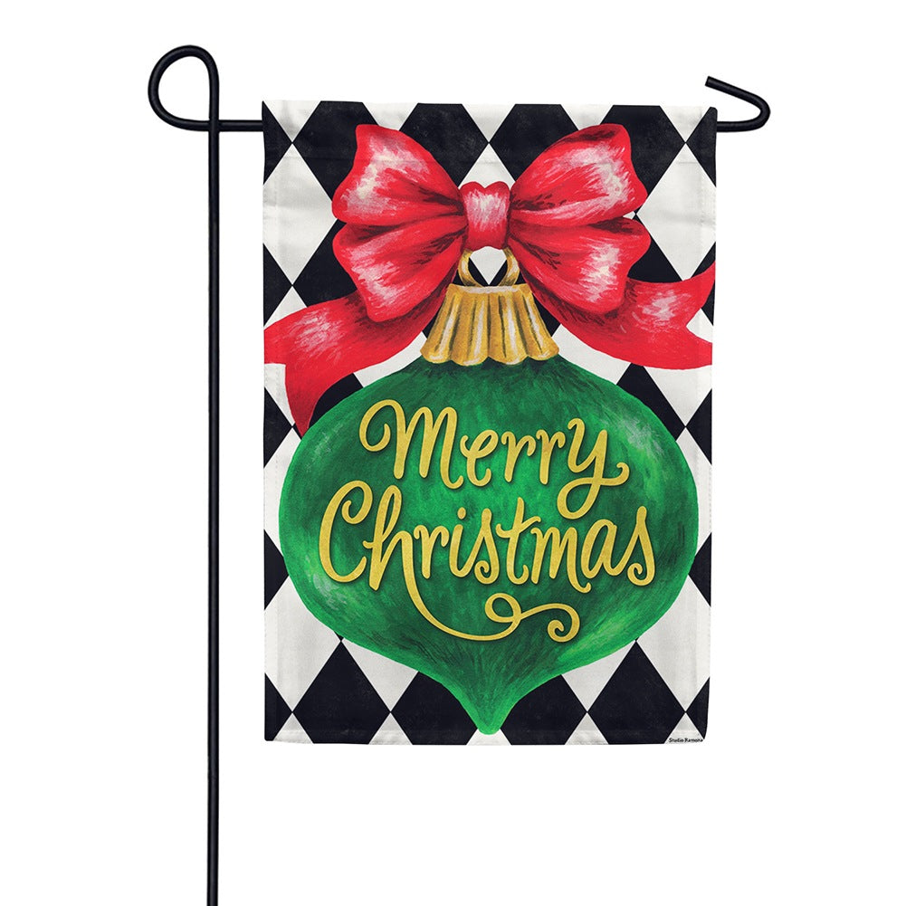 Merry Christmas Ornament Double Sided Garden Flag