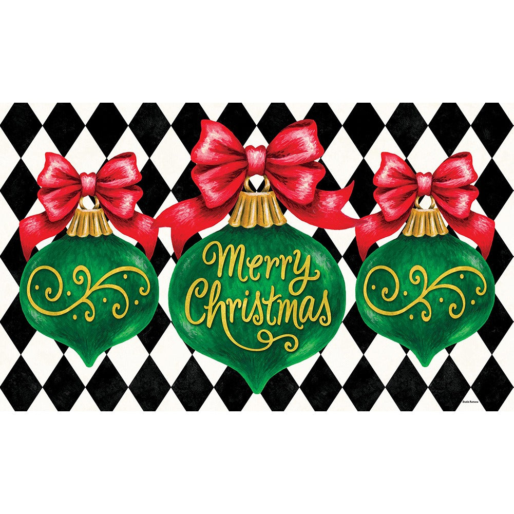 Merry Christmas Ornament Doormat