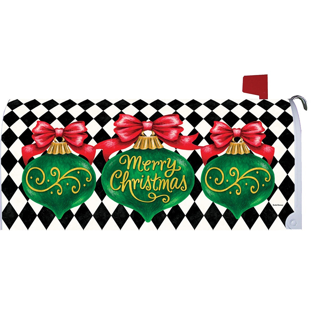 Merry Christmas Ornament Mailbox Cover