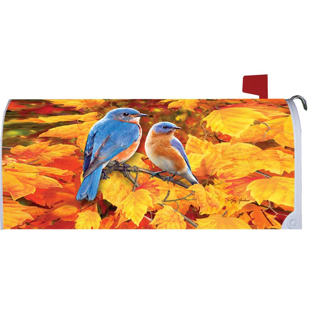 Fall Bluebirds Mailbox Cover