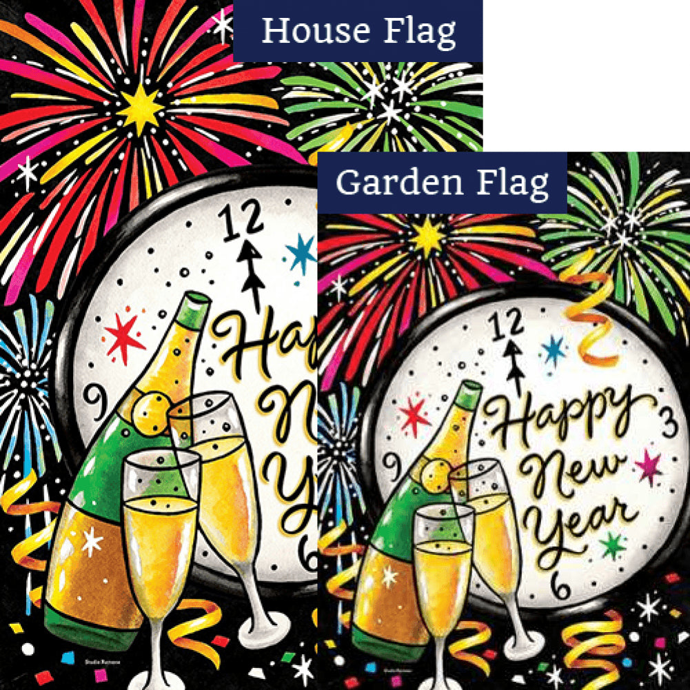 New Year's Eve Double Sided Flags Set (2 Pieces)