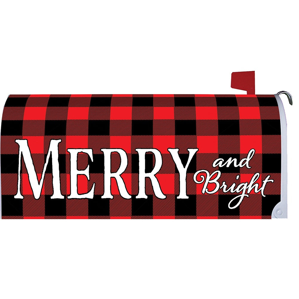 Merry & Bright Checkered Mailbox Cover