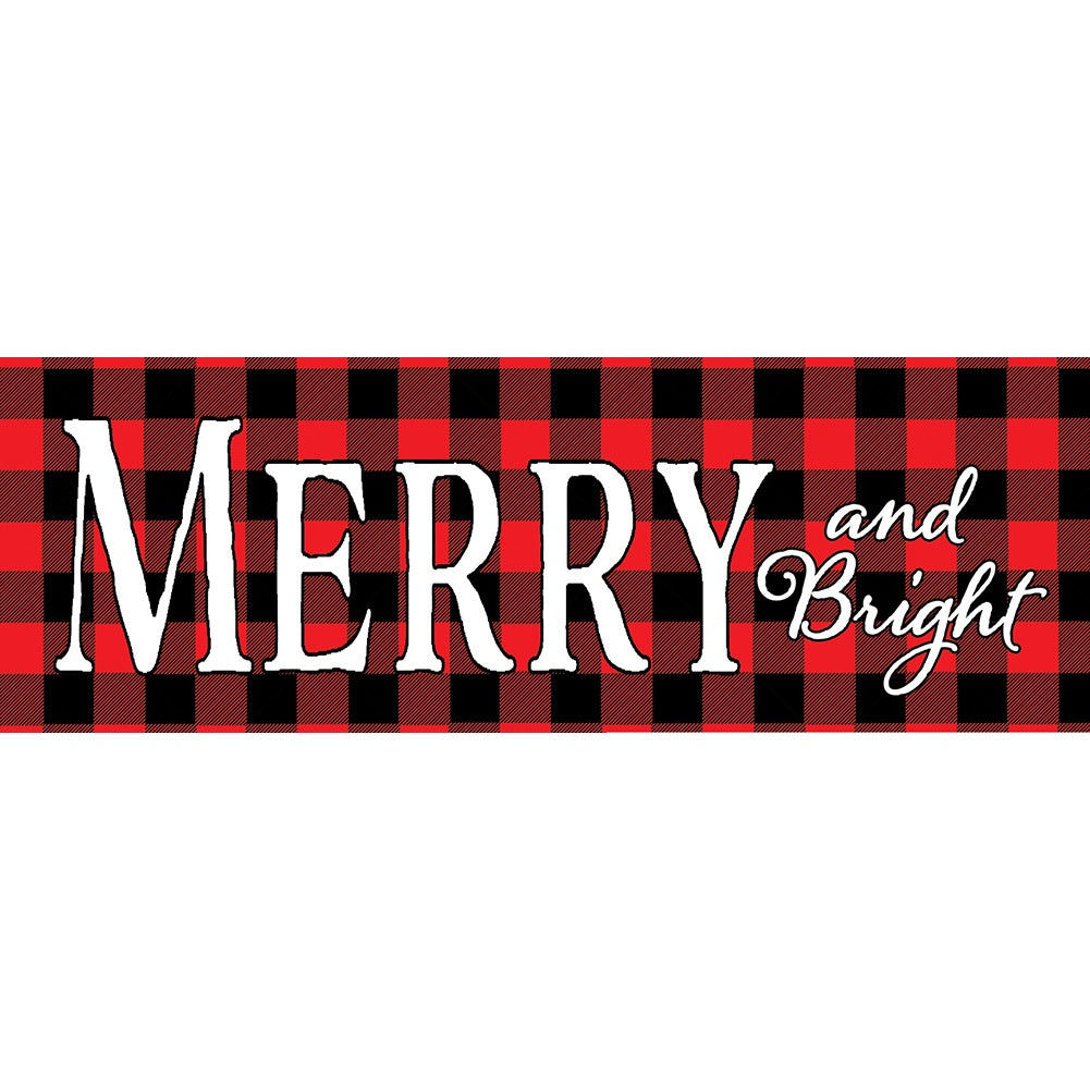Merry & Bright Checkered Signature Sign