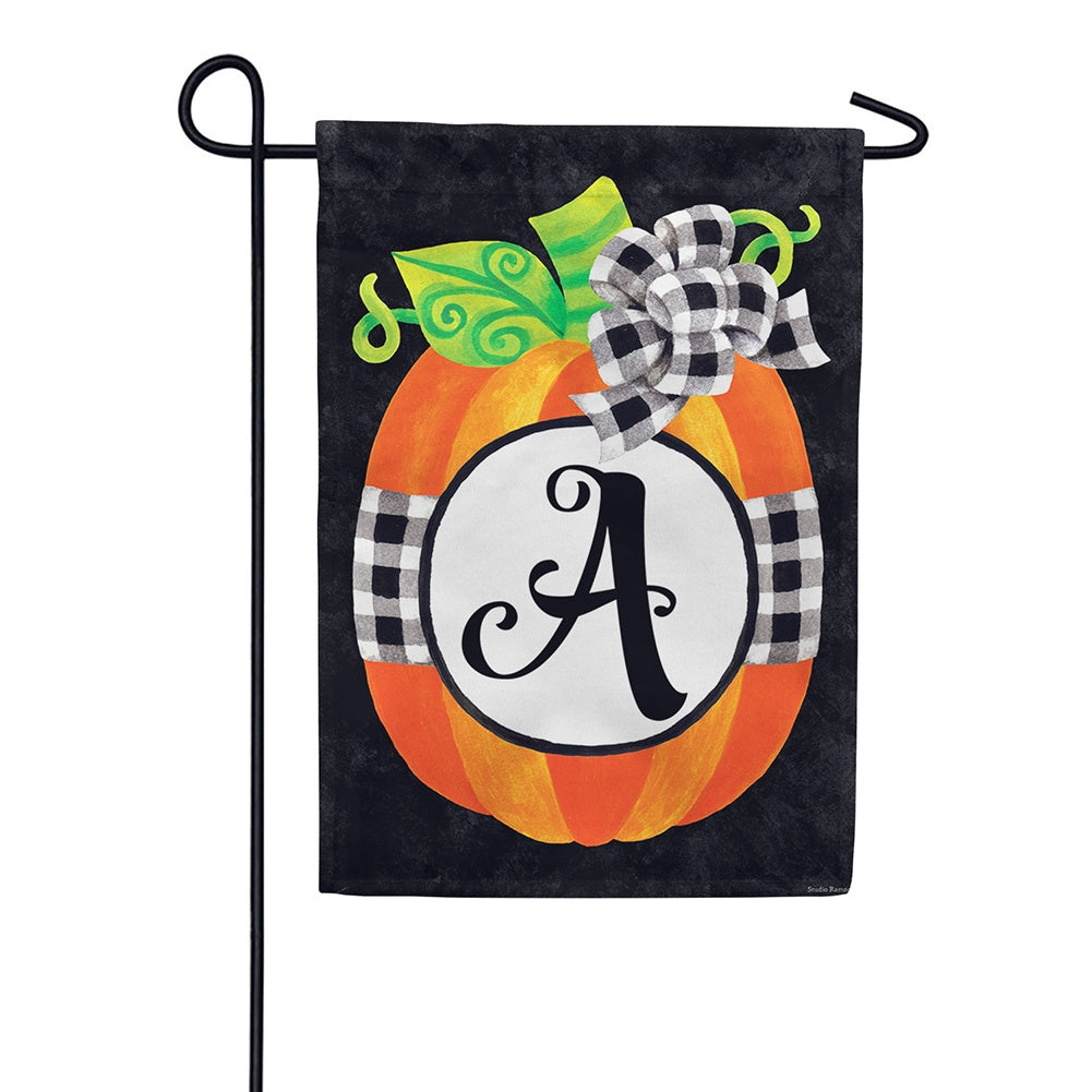 Gingham Pumpkin Monogram Appliqued Double Sided Garden Flag