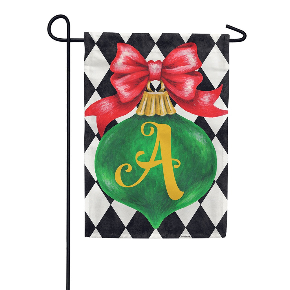 Christmas Ornament Monogram Appliqued Double Sided Garden Flag