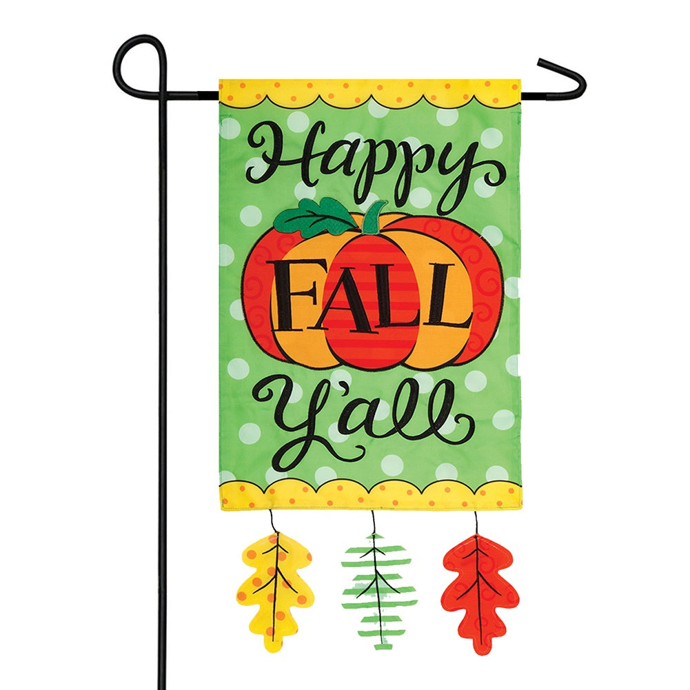 Happy Fall Y'all Appliqued Double Sided Garden Flag