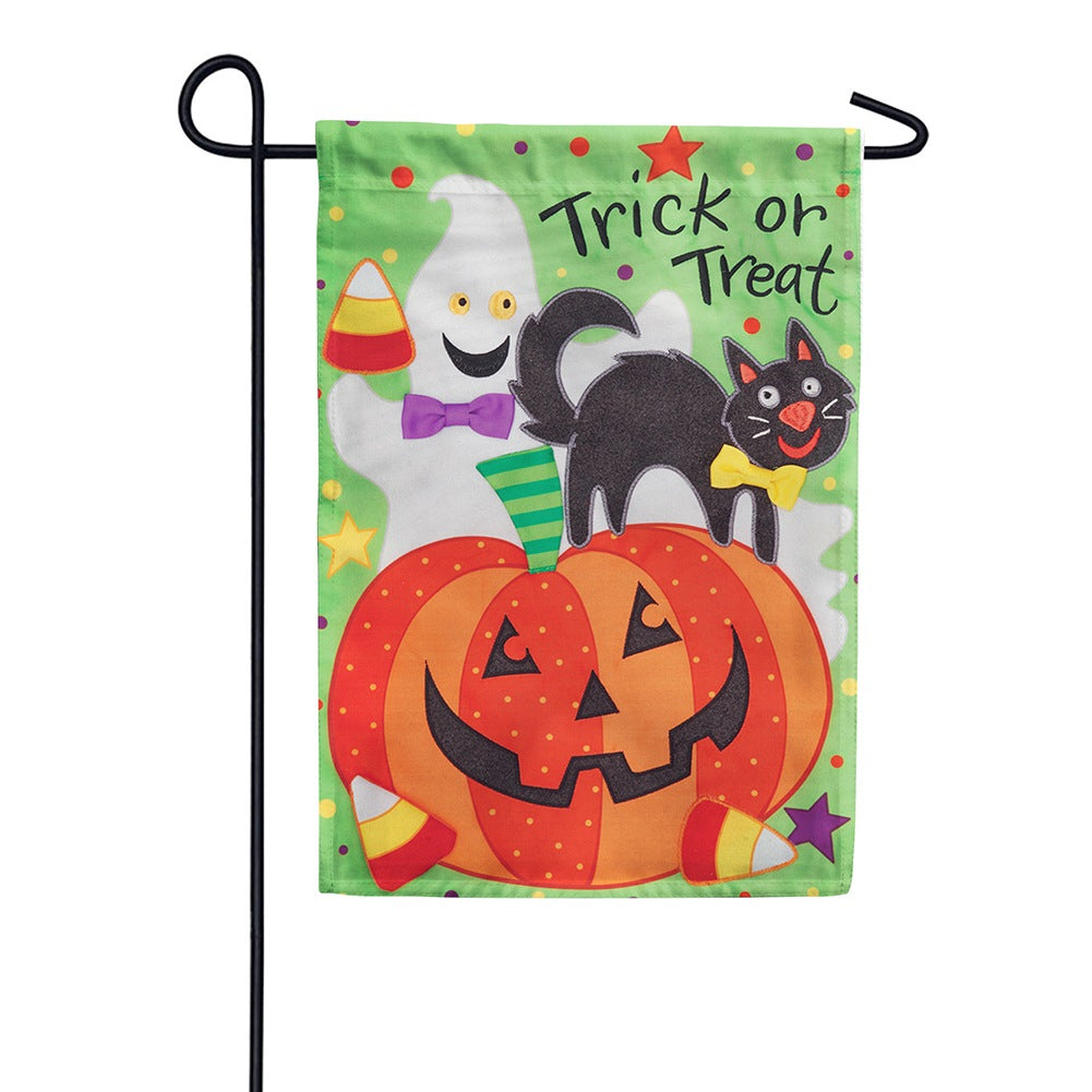 Trick or Treat Appliqued Garden Flag