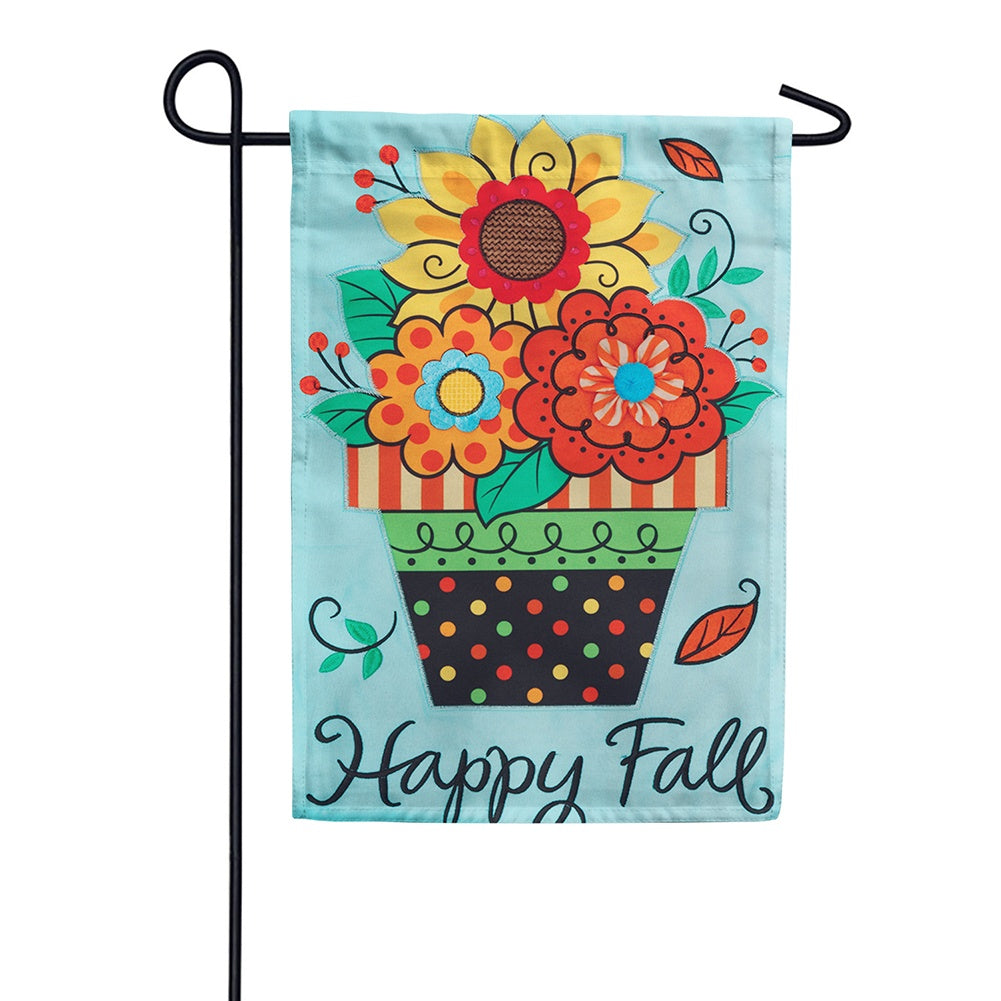 Fall Flowers Appliqued Double Sided Garden Flag