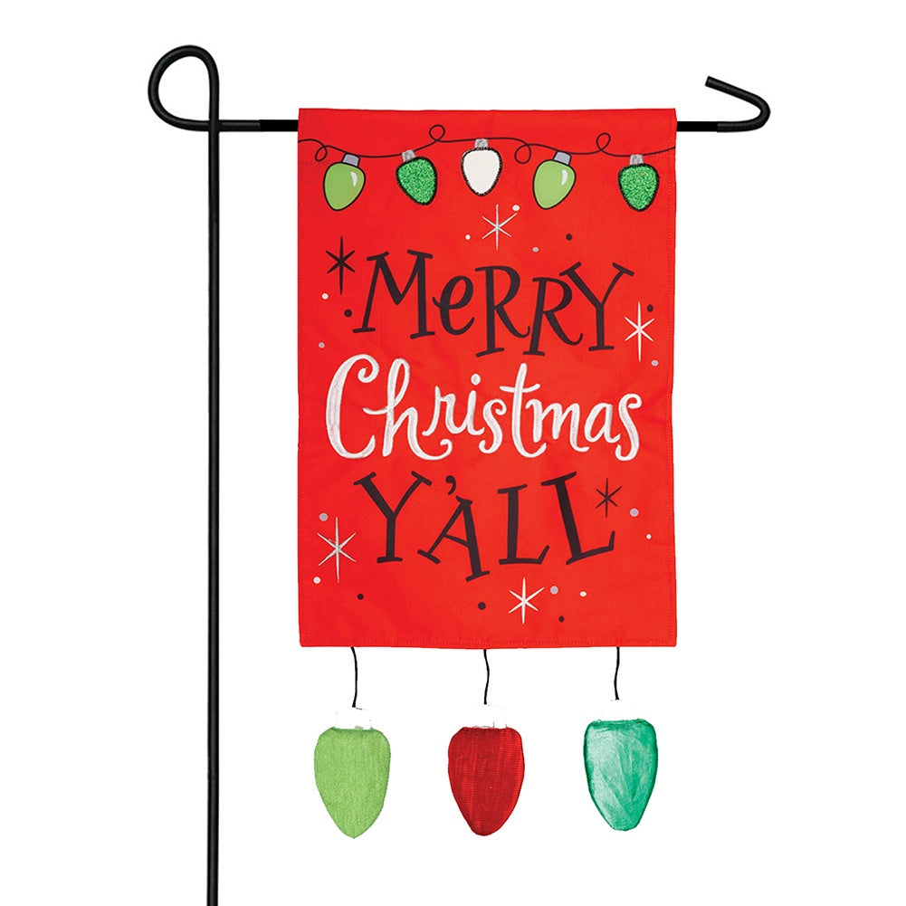 Christmas Y'All Appliqued Garden Flag