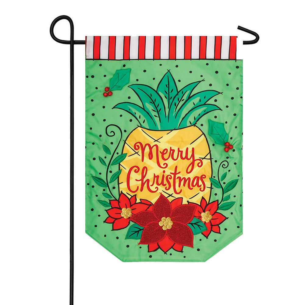 Christmas Pineapple Appliqued Double Sided Garden Flag
