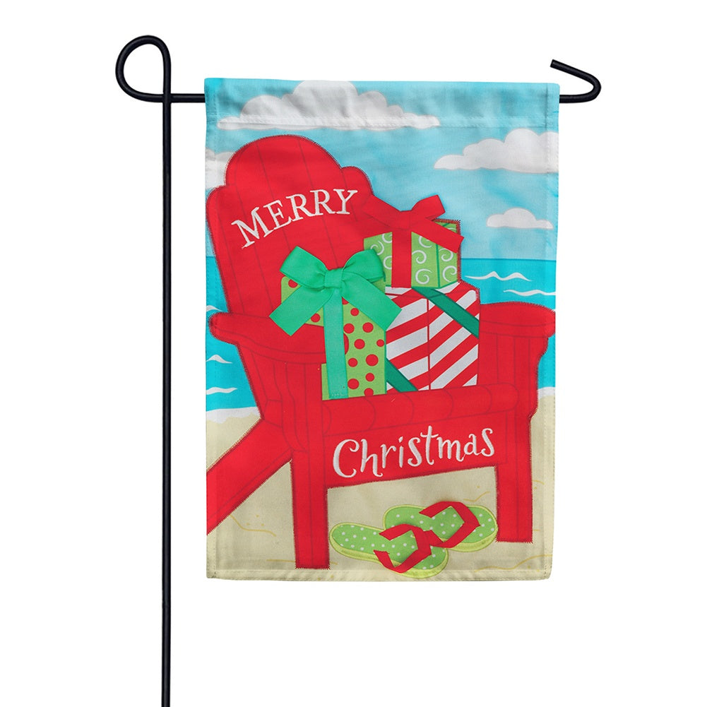 Christmas Adirondack Appliqued Double Sided Garden Flag
