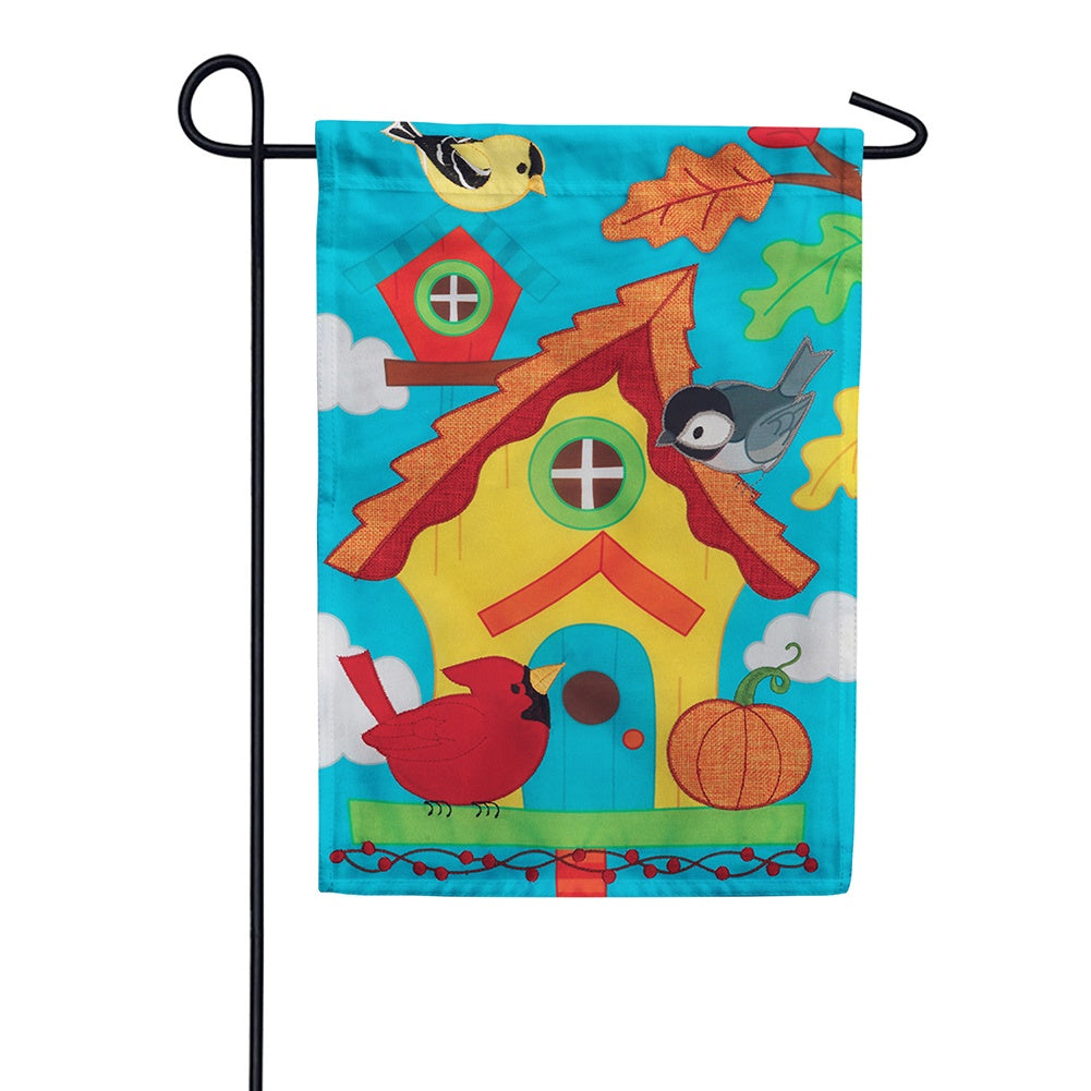 Whimsy Birdhouse Appliqued Garden Flag