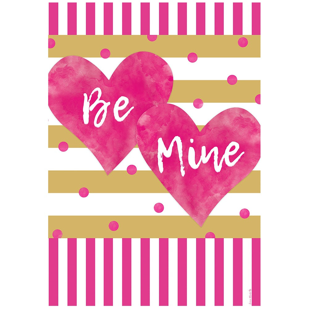 Pink and Gold Hearts Double Sided House Flag