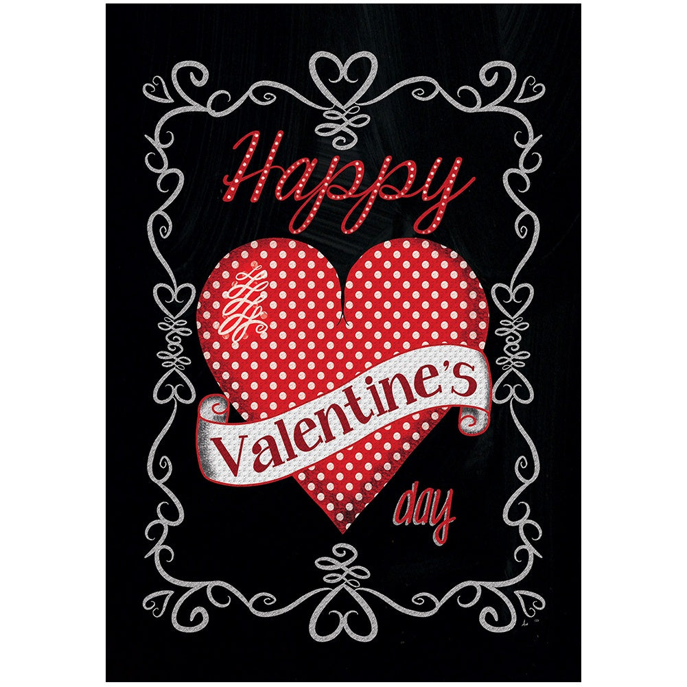 Valentine on Black Double Sided House Flag