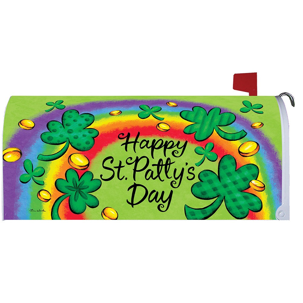 Clovers and Rainbow Mailbox Cover