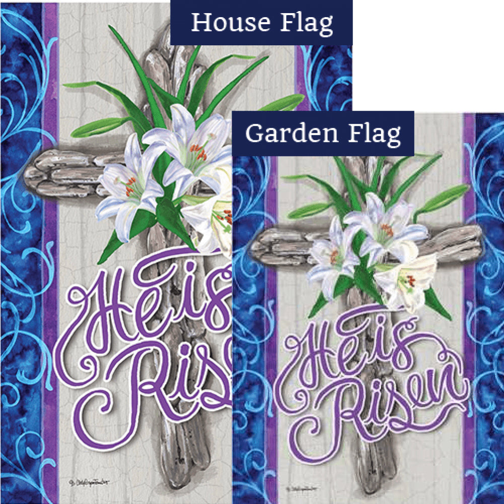 Cross and Lilies Flags Set (2 Pieces)