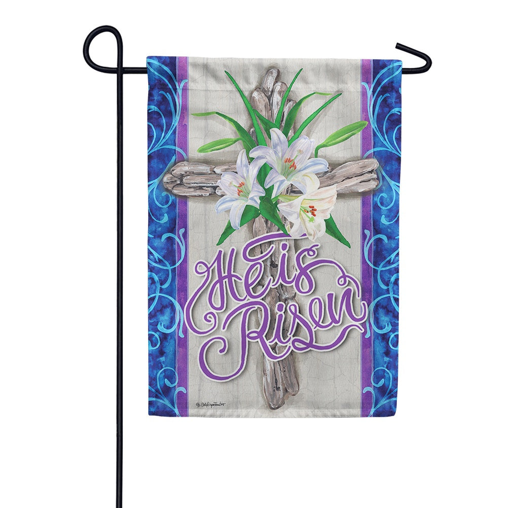 Cross and Lilies Garden Flag