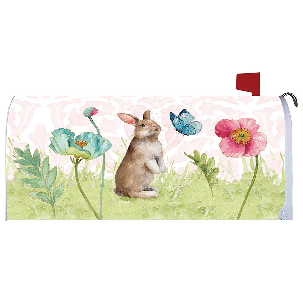 Bunny and Flowers Mailbox Cover