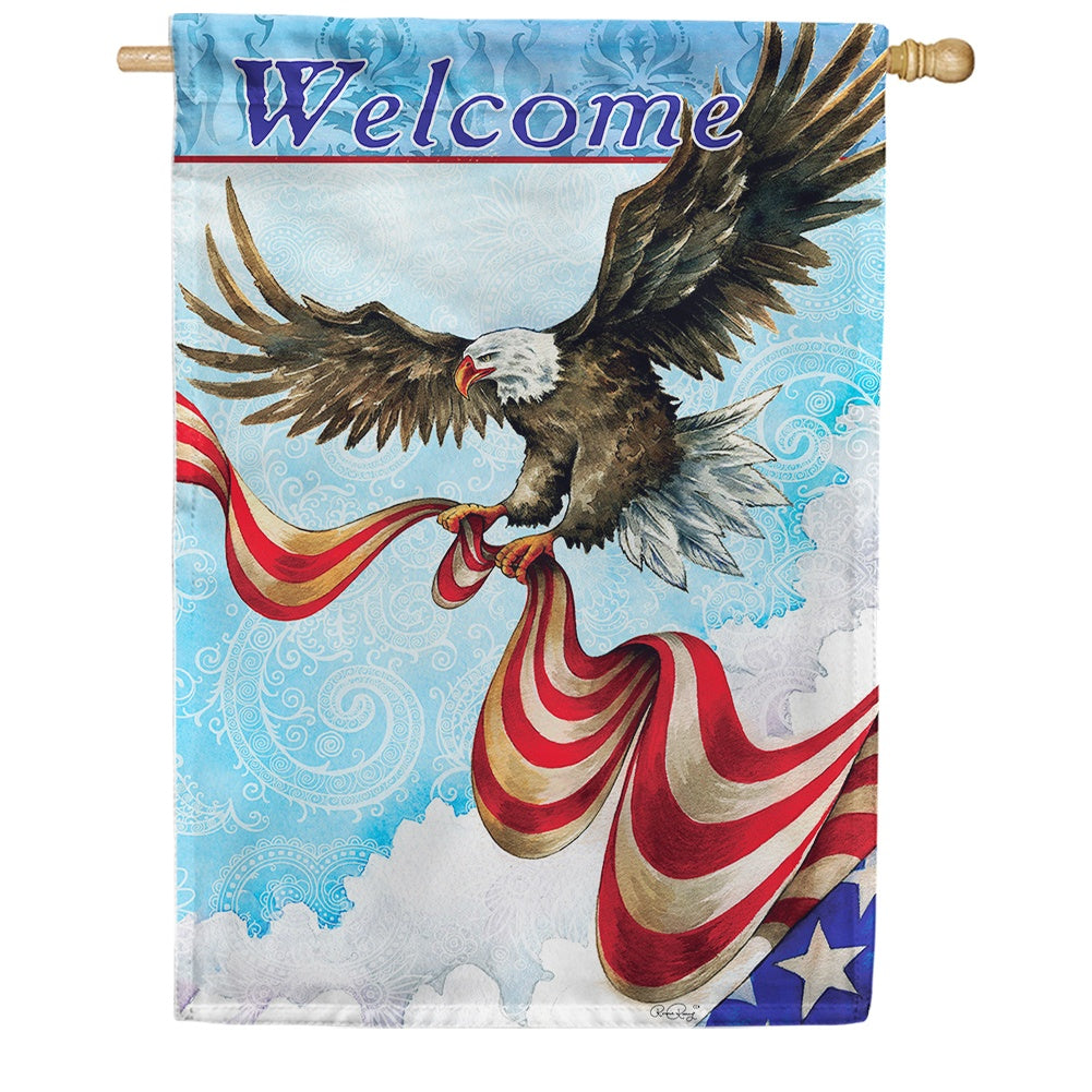 Patriotic Eagle Double Sided House Flag