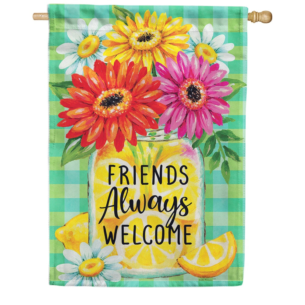 Gerberas and Lemons Double Sided House Flag