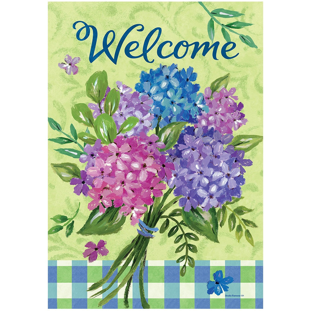 Hydrangea Bouquet Double Sided House Flag