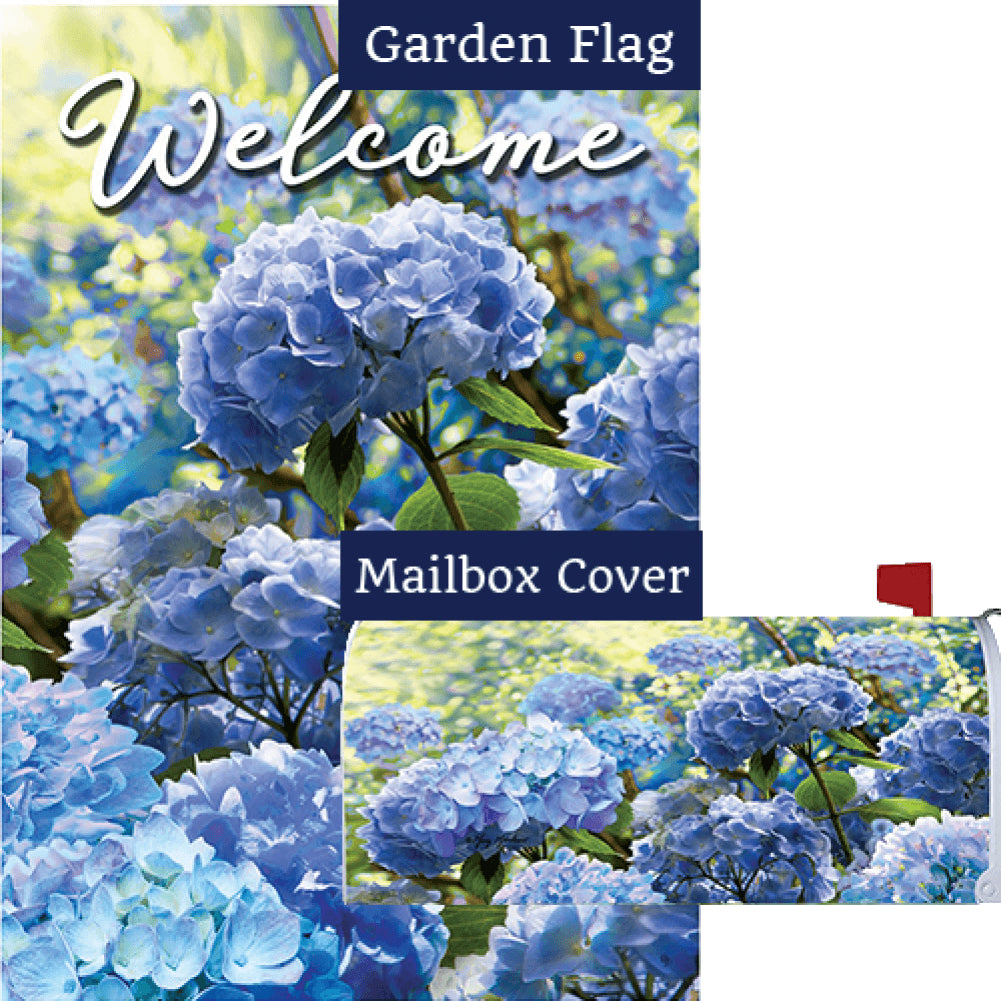 Blue Hydrangea Garden Flag Mailwrap Set (2 Pieces)