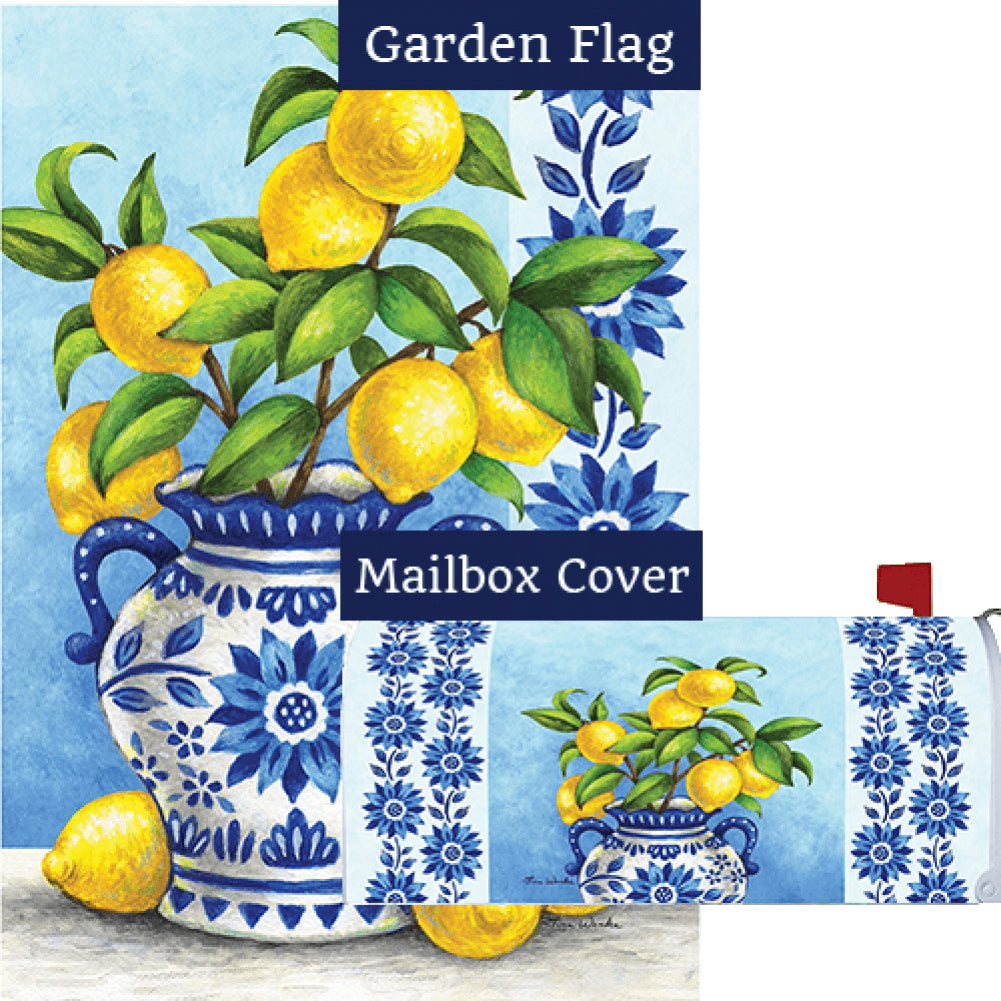 Blue Willow and Lemons Flag Mailwrap Set (2 Pieces)